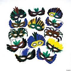Bulk Mardi Gras Feather Eye Mask Assortment - 100 pcs.