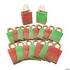 Bulk Medium Christmas Sprinkle Kraft Paper Gift Bags - 180 Pc.