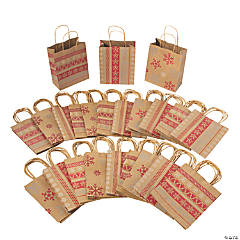 Bulk Medium Red & White Nordic Print Kraft Paper Gift Bags - 180 Pc.