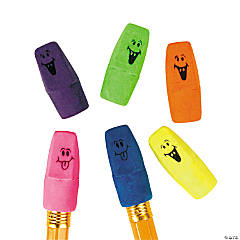 Bulk Neon Funny Face Pencil Top Erasers - 144 Pc.