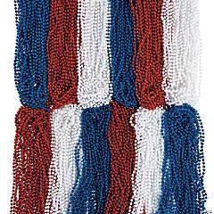 Bulk Patriotic Red, White & Blue Beaded Necklace Assortment - 576 Pc.
