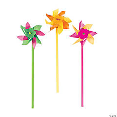 Bulk Plastic Neon Pinwheels - 72 Pc.