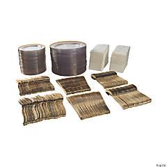 Bulk Premium Clear & Gold Plastic Tableware Kit for 96 Guests