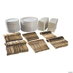 Bulk Premium White & Gold Plastic Tableware Kit for 96 Guests