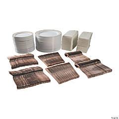 Bulk Premium White & Rose Gold Plastic Tableware Kit for 96 Guests