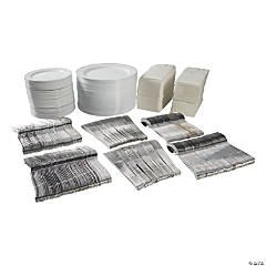 Bulk Premium White & Silver Plastic Tableware Kit for 96 Guests