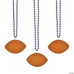 Bulk Purple Bead Necklaces with Football Charms - 150 Pc.
