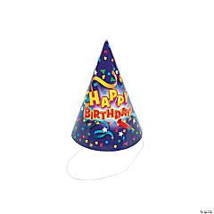 Bulk Purple Birthday Design Paper Hats