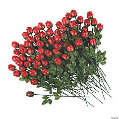 Bulk Red Foil-Wrapped Chocolate Roses - 72 Pc.