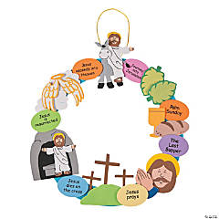 Bulk Religious Easter Wreath Craft Kit - 48 Pc.