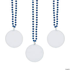 Bulk Royal Blue Bead Necklaces with Round Discs - 150 Pc.