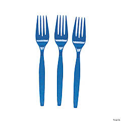 Bulk Royal Blue Plastic Forks - 50 Ct.