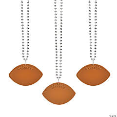 Bulk Silver Bead Necklaces with Football Charms - 150 Pc.