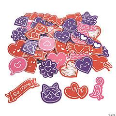 Bulk Valentine Doodle Self-Adhesive Shapes
