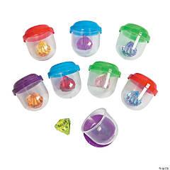 "Bulk Vending Machine Capsules with Diamond-Shaped Jewels - 1.1"""