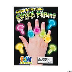 Bulk Vending Machine Display Cards Glow-in-the-Dark Spiky Rings