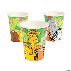 Bulk Zoo Animal Birthday Paper Cups