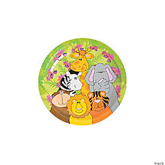 Bulk Zoo Animal Birthday Paper Dessert Plates