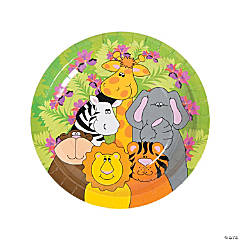 Bulk Zoo Animal Birthday Paper Dinner Plates