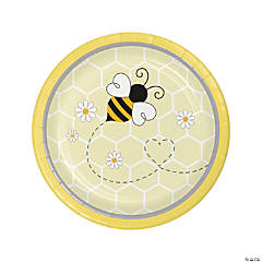 Bumblebee Party Round Paper Dessert Plates - 8 Ct.