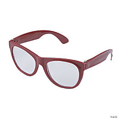 Burgundy Clear Lens Glasses