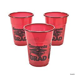 Burgundy Congrats Grad Disposable Cups