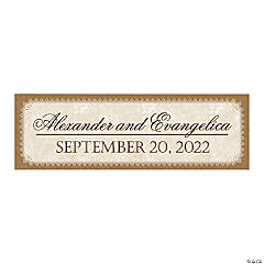 Burlap & Lace Look Rustic Wedding Custom Banner - Small