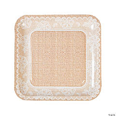 Burlap & Lace Paper Dinner Plates - 8 Ct.