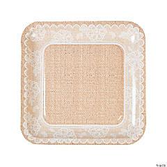Burlap & Lace Paper Dinner Plates
