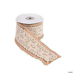 Burlap Ribbon with Vintage Lace