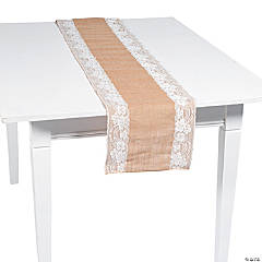 Burlap Table Runner with Lace Trim