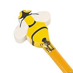 Busy Bee Eraser Pencil Toppers - 24 Pc.
