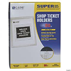 C-Line® Vinyl Shop Ticket Holder, Letter, 50 Pk