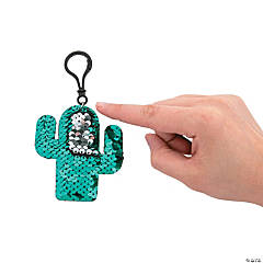 Cactus Flipping Sequin Backpack Clip Keychains