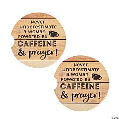 Caffeine & Prayer Ceramic Car Coaster Set
