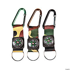 Camouflage Army Belt Clip Toy Compass Carabiner Keychains
