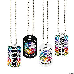 Cancer Awareness Dog Tag Necklaces