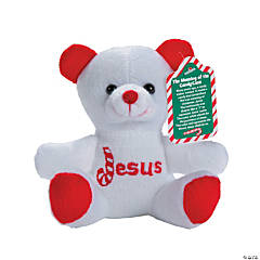 Candy Cane Religious Stuffed Bears with Card - 12 Pc.
