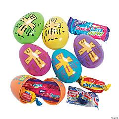 Candy Filled Religious Print Plastic Easter Eggs - 24 Pc.