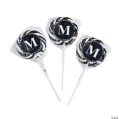 Candy Personalized Black Monogram Swirl Pops