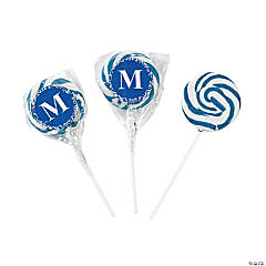 Candy Personalized Blue Monogram Swirl Pops