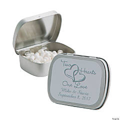 Candy Personalized Two Hearts Silver Mint Tins