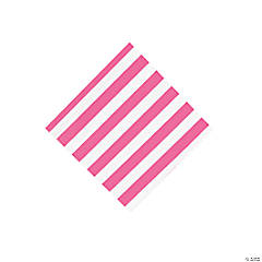 Candy Pink Striped Beverage Napkins