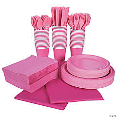 Candy Pink Tableware Party Pack for 48