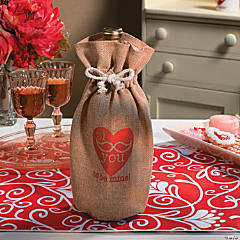 Canvas Valentine Mustache Bottle Bag
