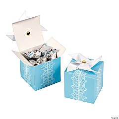 Cardboard Blue Pinwheel Favor Boxes