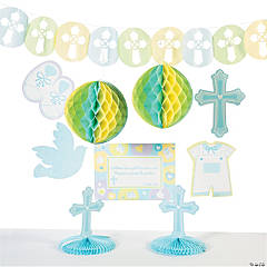 Cardboard Blue Sweet Christening Decorating Kit