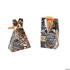 Cardboard Camouflage Bride & Groom Favor Boxes