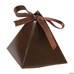 Cardboard Chocolate Brown Triangle Favor Boxes