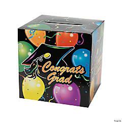 "Cardboard ""Congrats Grad"" Balloon Print Card Box"